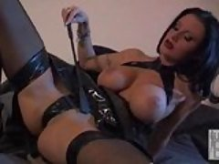 Karma Rosenburg on her leather d...