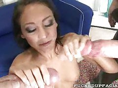 Extreme cum load over slut face