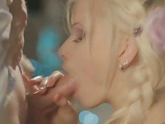 Classy blonde girl devours cock