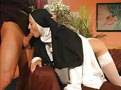Wet snatch nun anal fucked by th...