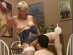 Blonde Granny in White Fishnet S...
