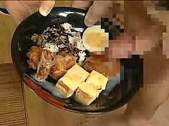 Japanese girl eats and drinks cu...