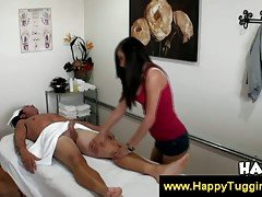 Asian gives her client massage