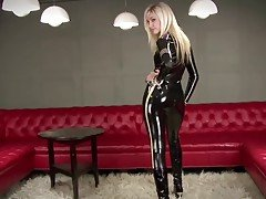 sexy blonde Black Latex Police C...