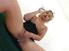 Buxom two holey blond smoking whore
