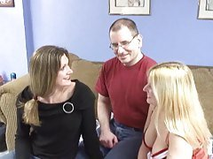 Brunette and Blonde have threesome