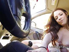 Redhead teen giving blowjob in h...