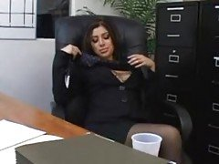 Secretary Sativa Rose in pantyho...