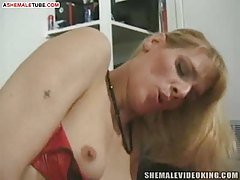 Hungry tranny need some cock food