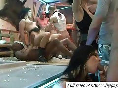 Group orgy at music dance party
