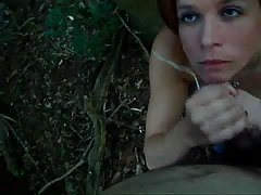 Blowjob in the forest!!! HUGE CU...