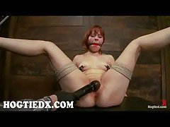 Hogtied redhead Chamille pussy t...