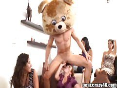 Girls blowing dick at party