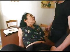French mature maid satisfies 2 b...