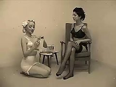 Women in vintage underwear