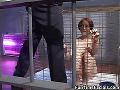 Cum Hungry Chick In A Cage
