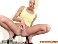 Blonde pissing babe teases her p...