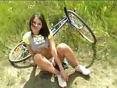 Cute Biker Girl shows her Pussy