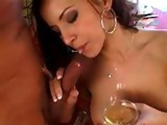 Cock honey Angel Dark  drinks a ...