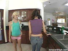 Two gorgeous teens lick chocolat...