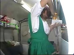 japanese girl makes food while s...