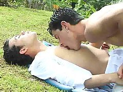 Gay campers play with their tent...