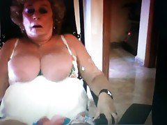 Hot big tits granny fucks herself