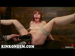 Hogtied Chamille spreads legs fo...