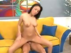 Tia Thomas moans as she rides a ...