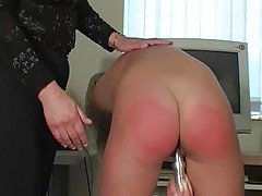 Dirty blonde slut fucks her cunt...