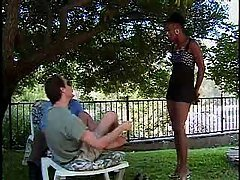 Black girl fucks two guys for au...
