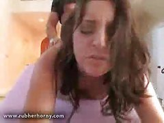 Massaged brunette fucked