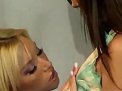 Blond and Brunette Lesbians Toy ...