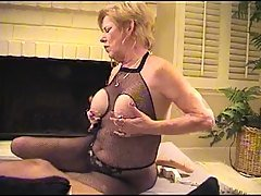 Granny in Fishnet Bodystocking S...