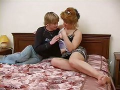 Son fucks mom on the parental bed