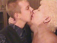 Old Blonde Granny in Pantyhose S...