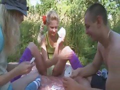 Orgy poker in the woods