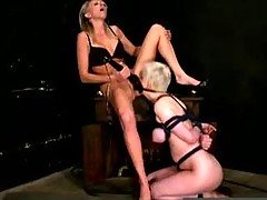 Lezdom mistress bitch inflicts m...