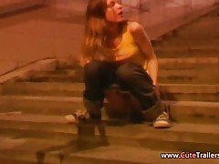 Amateur movie of public peeing girl