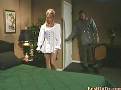 Buxom blonde girl gets poked on ...