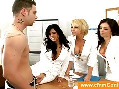 Doctor assistents undressing a guy
